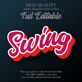 Swing script bewerkbaar grafisch stijl teksteffect