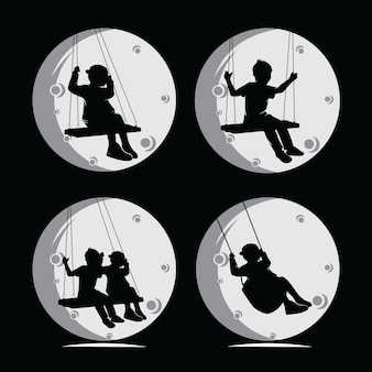 Swingende kinder silhouet collectie set