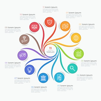 Swirl stijlsjabloon infographic met 11 opties.
