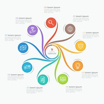 Swirl stijlsjabloon infographic met 9 opties.