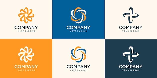 Swoosh draaiende werveling logo ontwerpsjabloon