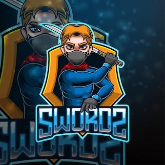 Sword esport mascotte logo ontwerp