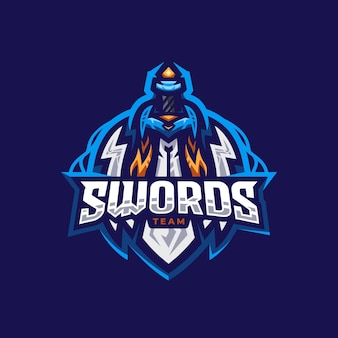 Sword team esport logo ontwerpsjabloon