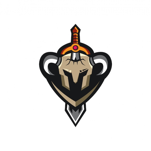 Sword warrior helmet logo sports