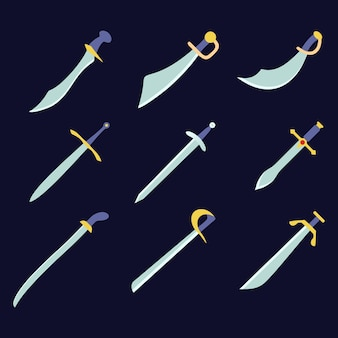 Sword weapon icons set game assets