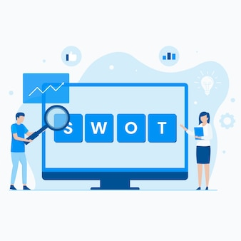 Swot-analyse plat concept.
