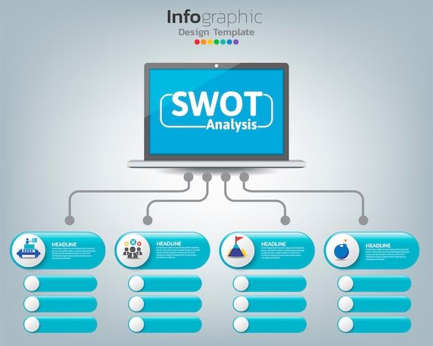 Swot-analyse zakelijke infographic grafiek
