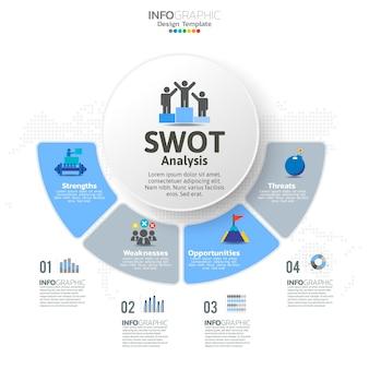 Swot-analysesjabloon of strategische planningstechniek. infographicontwerp met vier elementenmalplaatje.