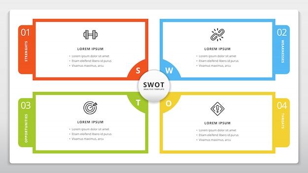 Swot-sjabloon of strategische planning infographic-ontwerp