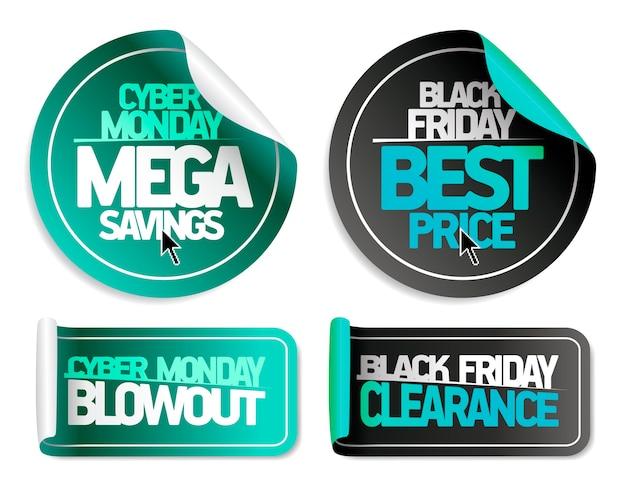 Syber monday mega-besparingen, syber monday blowout, black friday-beste prijs en black friday-uitverkoop - set met uitverkoopstickers