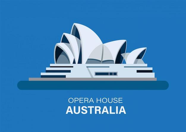 Sydney, australië, het oriëntatiepuntgebouw van het operahuis, redactionele geïsoleerde illustratie vlakke stijl