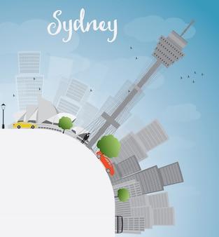 Sydney city-horizon met blauwe hemel, wolkenkrabbers en exemplaarruimte
