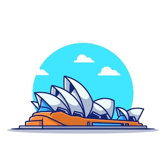Sydney opera house cartoon pictogram illustratie. beroemde gebouw reizende pictogram concept geïsoleerd. platte cartoon stijl