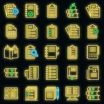 Syllabus pictogrammen instellen. overzicht set van syllabus vector iconen neon kleur op zwart