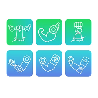 Symbolen armen spieren vuist halter handen robot