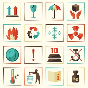 Symbolen of pictogrammen verpakken