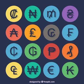 Symbolen valuta collectie