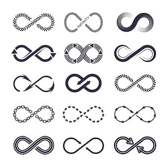 Symbolen van eeuwigheid. vector zwart-wit icoon collectie van oneindigheid logo's