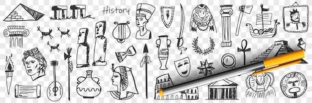 Symbolen van geschiedenis doodle set