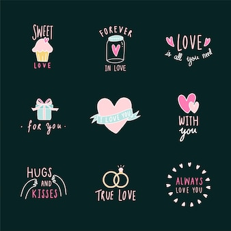 Symbolen van liefde icon set vector