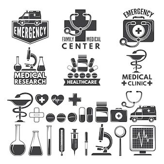 Symbolen van medicijnen. medische logo's en badges