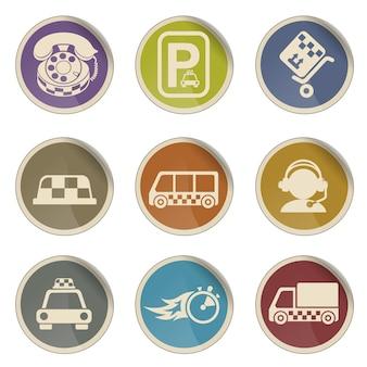 Symbolen van taxidiensten eenvoudige vector icon set