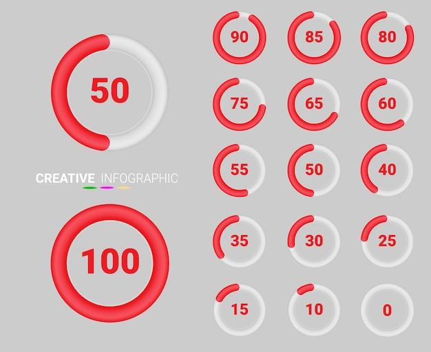 Symbolen voor symbolen met procentuele cirkeldiagrammen.