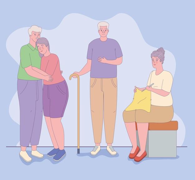 Symbolenset voor oudere mannen en vrouwen