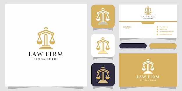 Symbool advocaat advocaat advocaat sjabloon lineaire stijl bedrijfslogo en visitekaartje