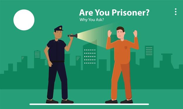 Symbool behang app lineaire stijl commerciële kunst logo campagne gevangene politie stad misdaad baan