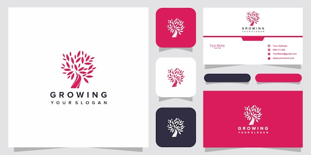 Symbool creatief groeiend logo met boomlogo en visitekaartjeontwerp
