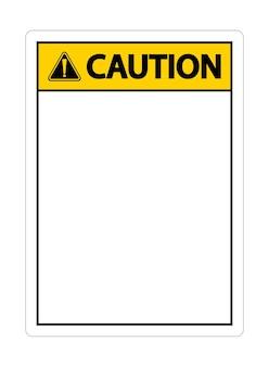 Symbool geel waarschuwingspictogram op witte achtergrond