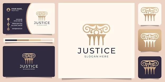 Symbool van het advocatenkantoor logo pijler gouden ontwerpelement en visitekaartjesjabloon premium vector