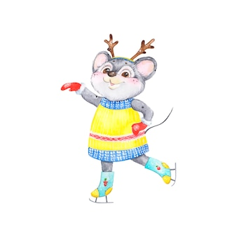 Symbool van het nieuwe jaar muis op schaatsen, aquarel, karakter