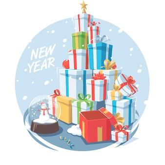 Symbool van het nieuwe jaar. veel cadeaus op nieuwjaarsvakantie