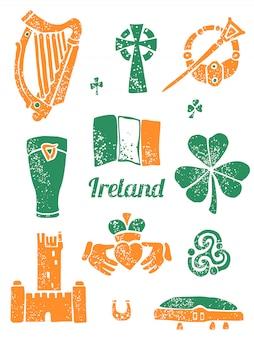 Symbool van ierland in linostijl