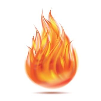 Symbool van vuur op witte achtergrond.