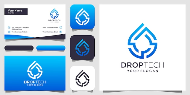 Symbool water met lijn kunststijl. druppel of olijfolie met lijn kunststijl voor mobiel concept en web. set van logo en visitekaartje