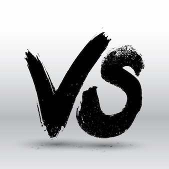 Symboolcompetitie vs. tegenover tekstpenseel schilderen letters.
