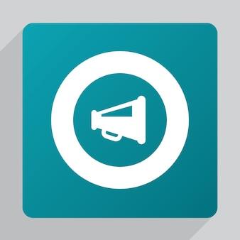 Symboolpictogram voor platte luidspreker, wit op groene achtergrond
