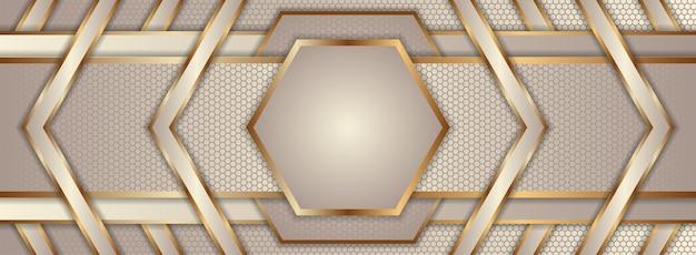 Symmetrisch ontwerp van abstracte geometrische horizontale lay-out. combinatie van zachte bruine en gouden verloopkleuren.
