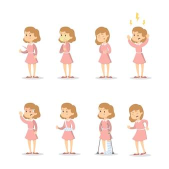 Symptomen met vrouw ingesteld op witte achtergrond.