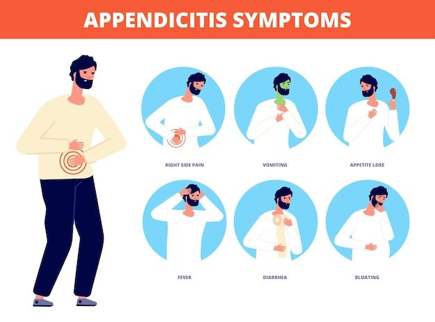 Symptomen van blindedarmontsteking. buikpijn ziekte, diarree misselijkheid braken. maag maagkrampen koliek, noodsituatie patiënt vectorillustratie. buikpijn en blindedarmziekte, diarree en pijn