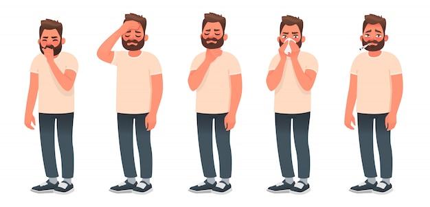 Symptomen van een virale infectie en luchtwegaandoeningen. een zieke man hoest en niest. hoofdpijn, keelpijn, loopneus, koorts.