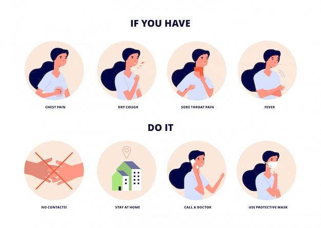 Symptomen van griepvirus. voorkom verspreiding van ziekte.