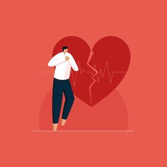 Symptomen van hartaanval en pijn op de borst man houdt zijn borst onaangenaam vast zorg voor gezond hart