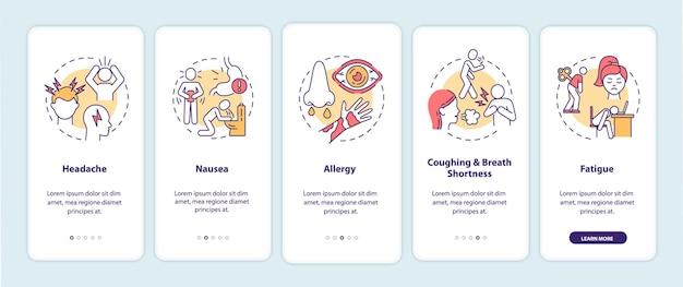 Symptomen van luchtvervuilingsziekte bij het instappen op het paginascherm van de mobiele app met concepten Premium Vector