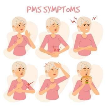 Symptomen van pms vrouwelijke persoon illustratie
