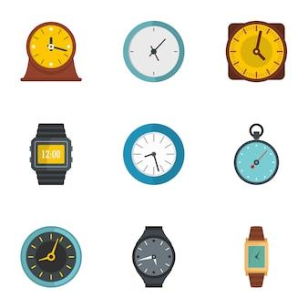 Synchronisatie iconen set, vlakke stijl