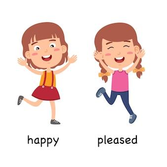 Synoniemen bijvoeglijke naamwoorden blij en blij vectorillustratie